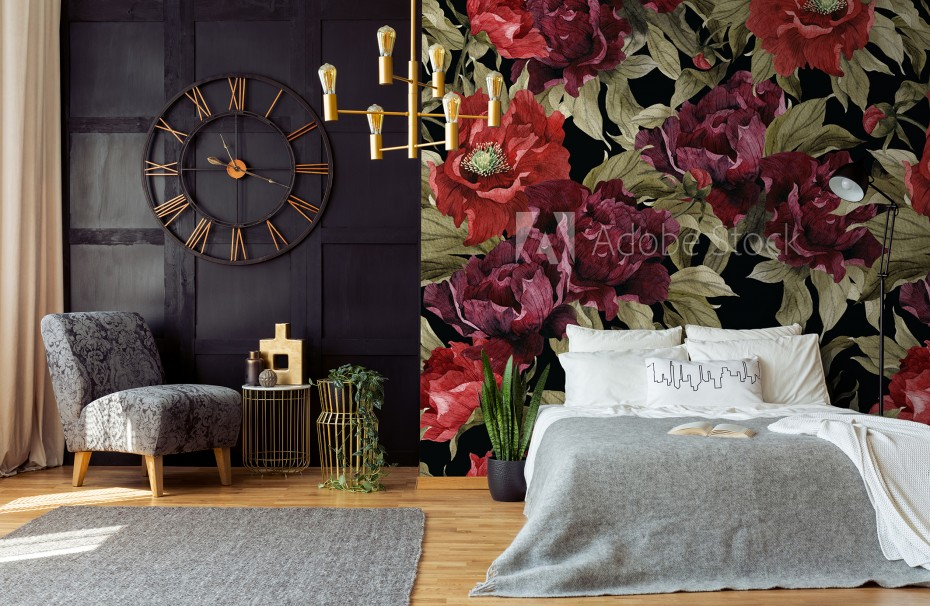 FLORAL - Floral pattern with peonies,