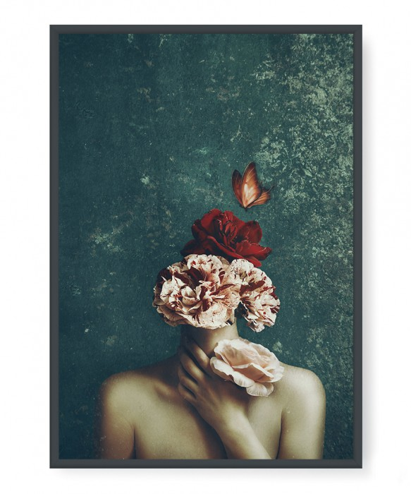 Plakaty - Woman, flowers and butterfly